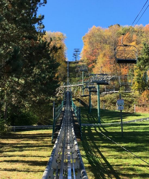 The scenic lift takes you to the top of the mountain where you can enjoy the sights of fall foliage, Deep Creek Lake, and the surrounding attractions including the mountain coaster.