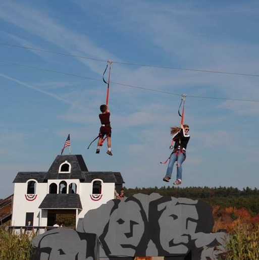 The zip line at Davis Mega Maze is over 200 feet long and three stories high. You'll soar past the corn at speeds that reach 21 mph.