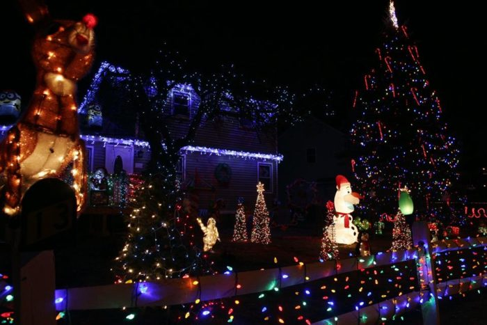 start at whitney and nics winter wonderland at 13 country side drive in nashua here the lights are on at dusk