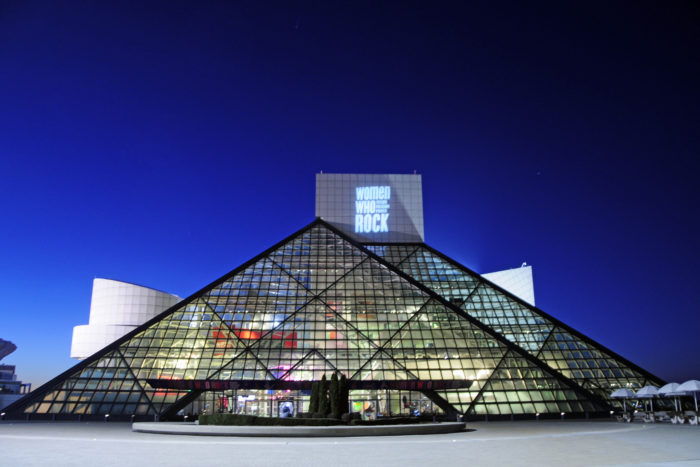 Rock and Roll Hall of Fame at night