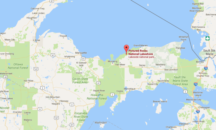 Picture Rocks Michigan Map.Pictured Rocks Is The Best Place For Winter Hiking In Michigan