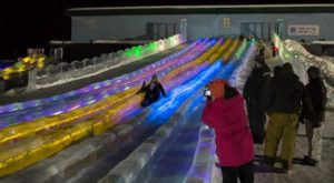 The big multi-lane slide even has a variety of changing colors that sparkle at night. Get ready for lots of 'squeaks and squeals' to come from the kids. Parents will love this quintessential 'Only In Alaska' photo-op.