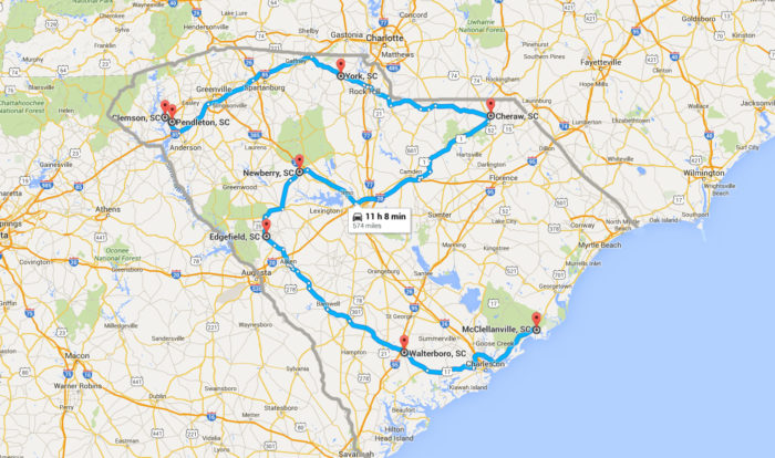 MustDo South Carolina Road Trips With Maps Included - South carolina towns map