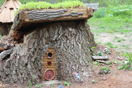 let the kids crawl down on the ground to inspect the magical fairy houses you might even want to join them as you