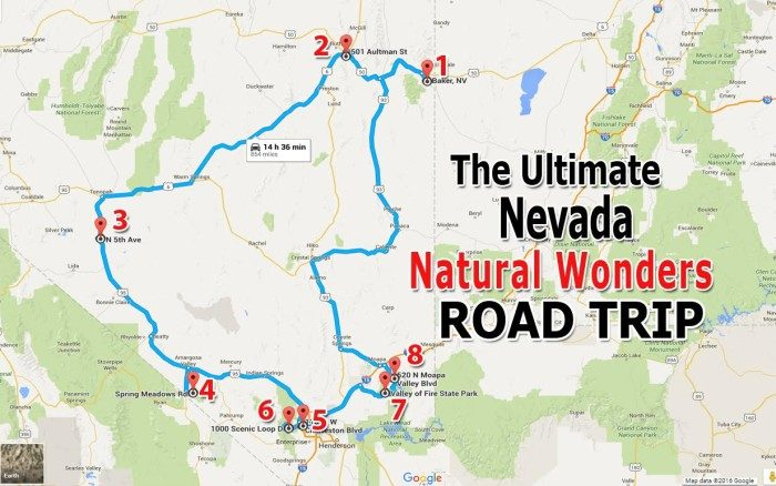 Unforgettable Nevada Road Trips To Take In - Road map of nevada