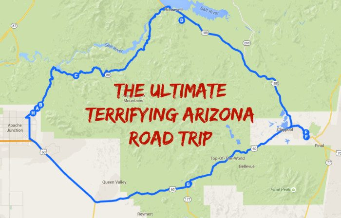 the ultimate terrifying arizona road trip google maps