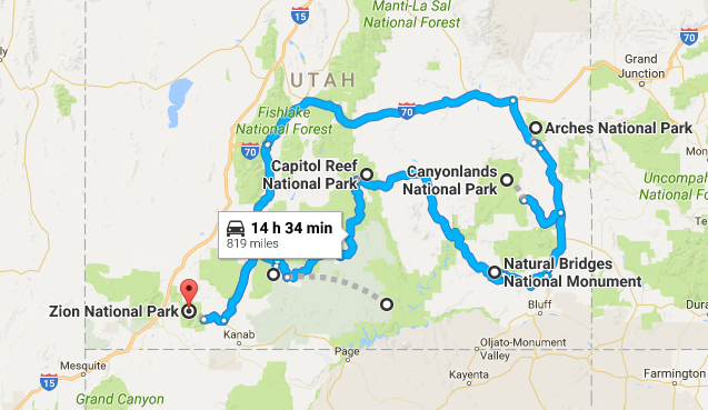 plain map utah national parks 9