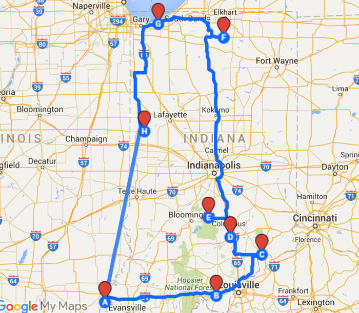 The Ultimate Road Trips To Take Across Indiana - Road map of indiana