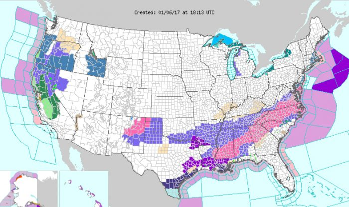 Snow Storm Threatens To Immobilize Southeastern US - Us snow storm map