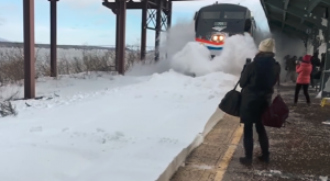 New York Train Unleashes An Epic Snow Tsunami And It Was All Caught On Film