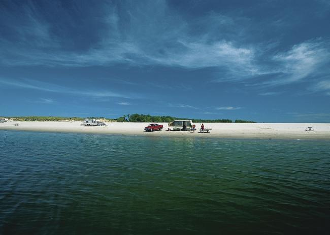 Camp Right On The Beach At Lake Mcconaughy In Nebraska
