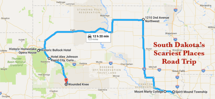 The Scariest Haunted South Dakota Road Trip - Map of cities in south dakota
