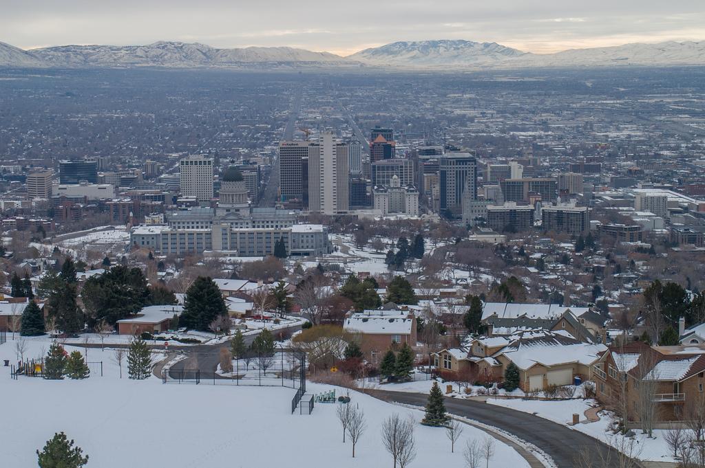 Weather at Nighttime Downtown Salt Lake City, Utah, U.S.A ... |Salt Lake City Temperature
