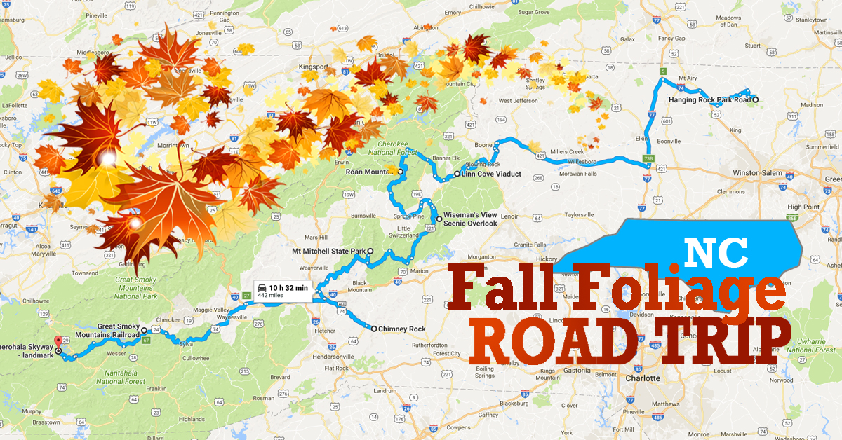 Best Fall Foliage Road Trip Map For North Carolina 2017