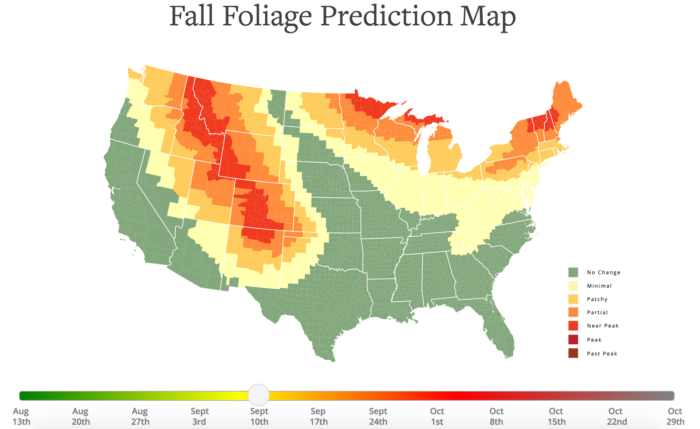 Best Times And Places To View Fall Foliage In North Dakota - Us fall color map