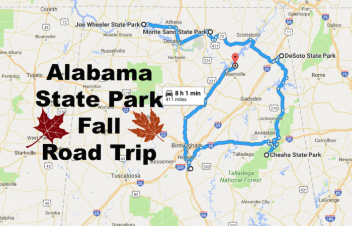 Al The State Park Road Trip To Take In Alabama This Fall: Map Of State Parks In Alabama At Usa Maps