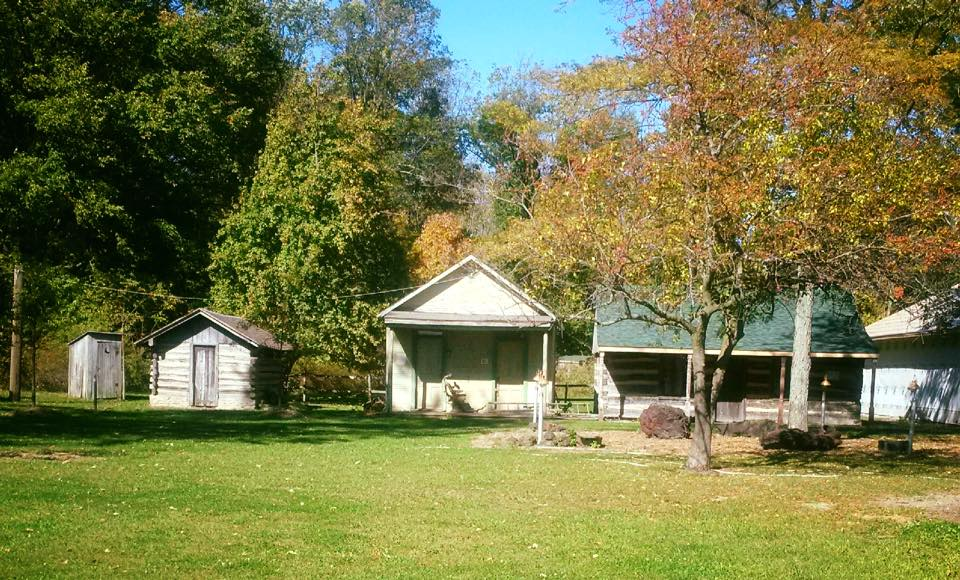 1990 COLOR SLIDE 1408 Ohio Findlay Ghost Town Log Cabin ...