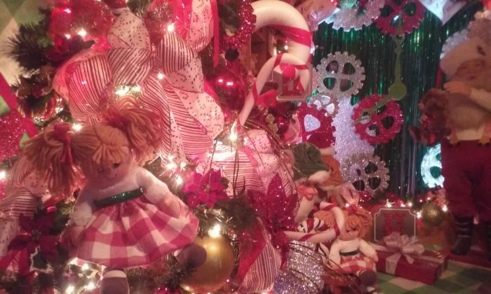 displays are overflowing with decorations including animatronics toys dolls ornaments glitter lights trees candy canes ribbon and more - Christmas Animatronics