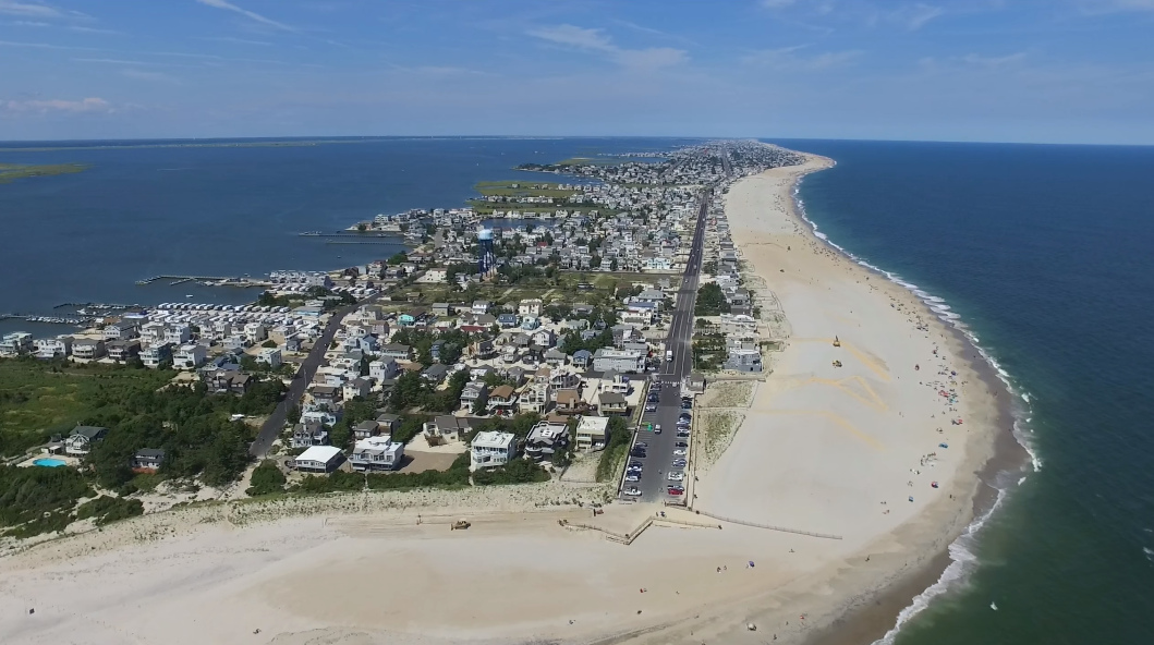 In Over Island Beach A And Drone Flew  New Long Jersey