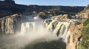 There's Something Strange But Beautiful Happening Right Now At This Famous Idaho Waterfall