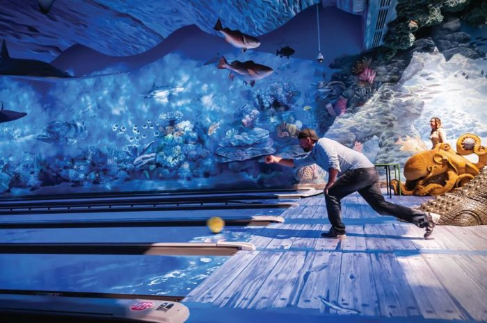 this ocean themed bowling alley and restaurant in