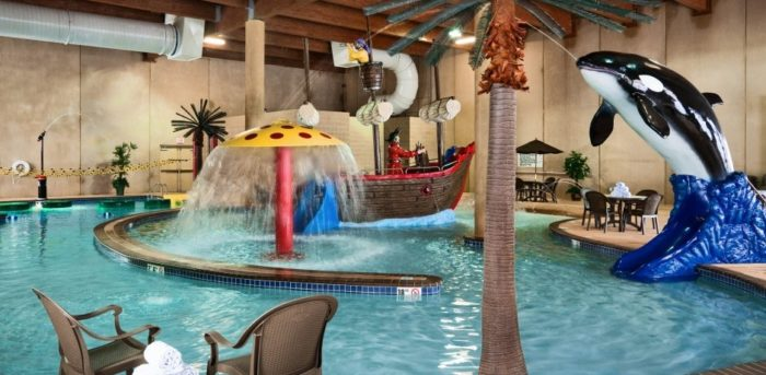 the pirate themed pool at deadwood lodge is fun for the whole family
