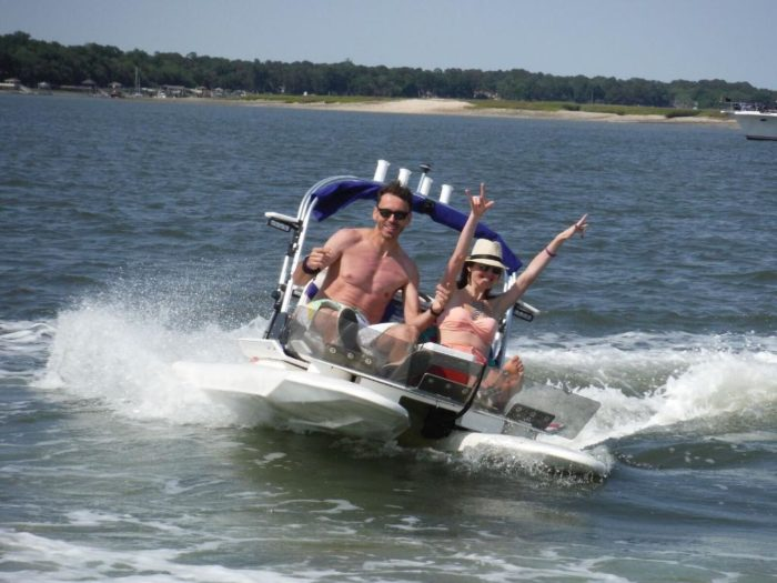 This drive your own boat tour in hilton head is a south carolina at backwater cat adventures youll board your own two person boat and drive yourself on this unique tour where youll follow your guide in a lead boat solutioingenieria Image collections