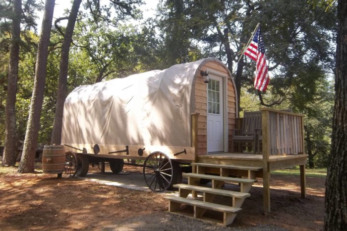 The Covered Wagons In Robbers Cave State Park Are An