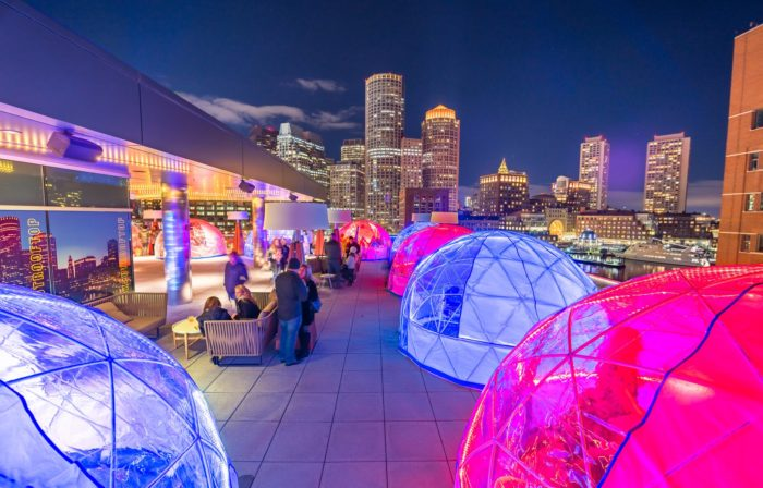 Glowing Heated Igloos At The Envoy Hotel In Boston