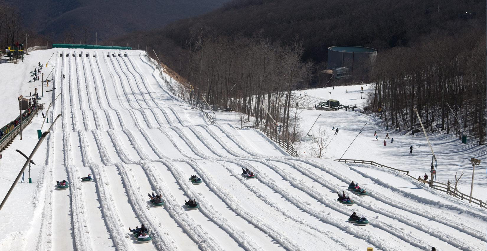 wintergreen has the biggest snow tubing park in virginia