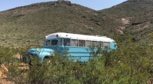 This Seemingly Abandoned Retro Schoolbus In The West Texas Desert Is Actually An Airbnb